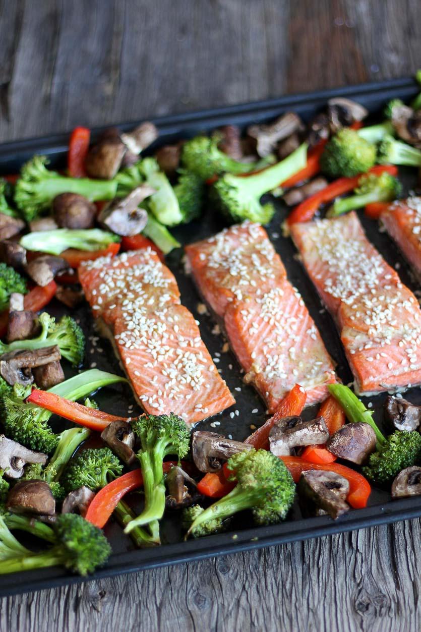 Sheet Pan Asian Salmon Tray Bake