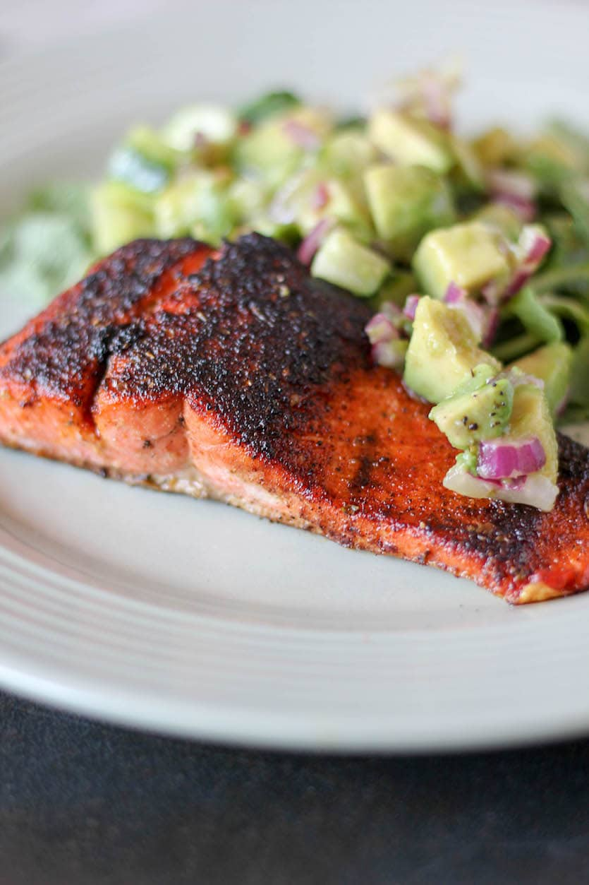 Blackened Salmon with Avocado Salsa - Stephanie Kay ...