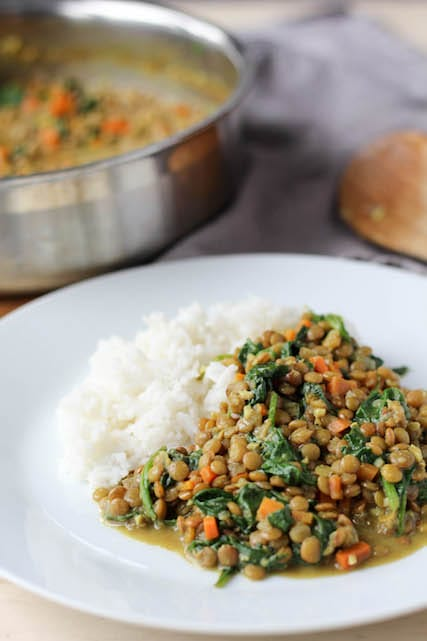 Green Lentil and Spinach Curry