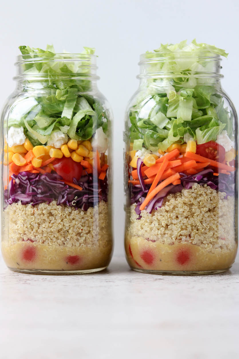 Rainbow Quinoa Mason Jar Salad
