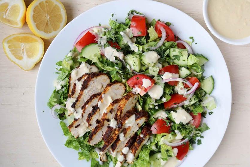 Chicken Shawarma Salad Stephanie Kay Nutritionist Speaker