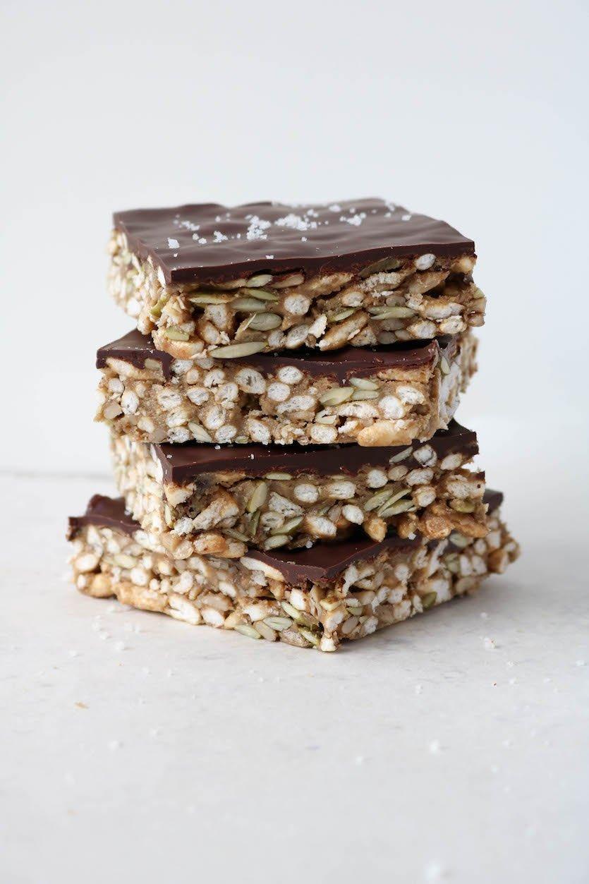 Chocolate Puffed Rice & Seed Bars