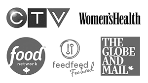 CTV Logo, Food Network Logo, The Globe & Mail Logo, Women's Health Logo, feedfeed Logo