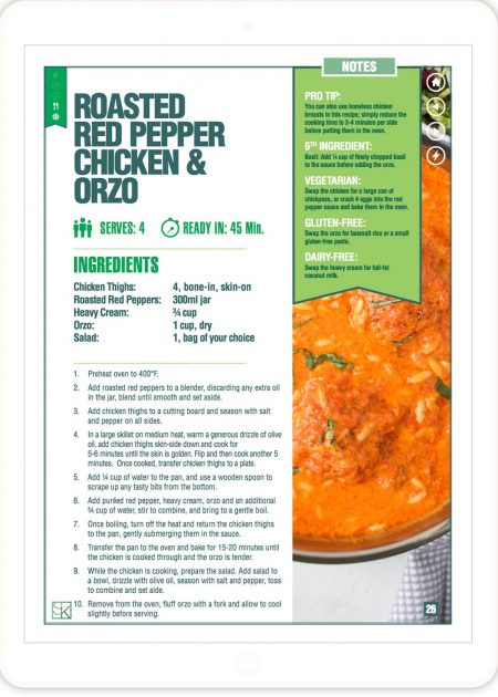 Roasted Red Pepper Chicken & Orzo Recipe - 5-Ingredient Recipes Cookbook