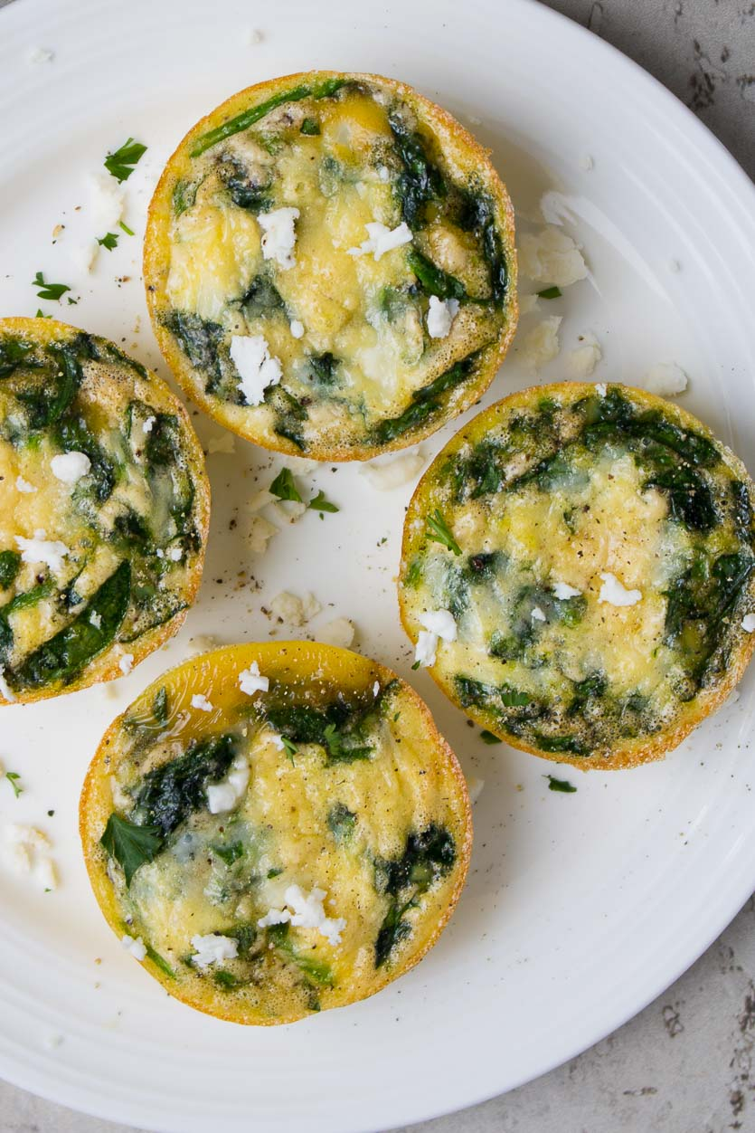 Healthy Spinach Egg Muffins with Feta