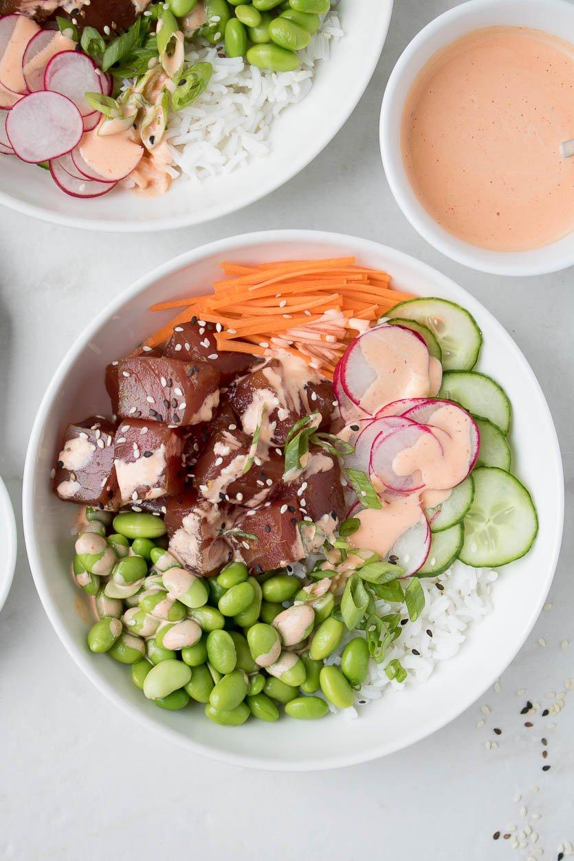 Tuna Poke Bowls with Spicy Mayo