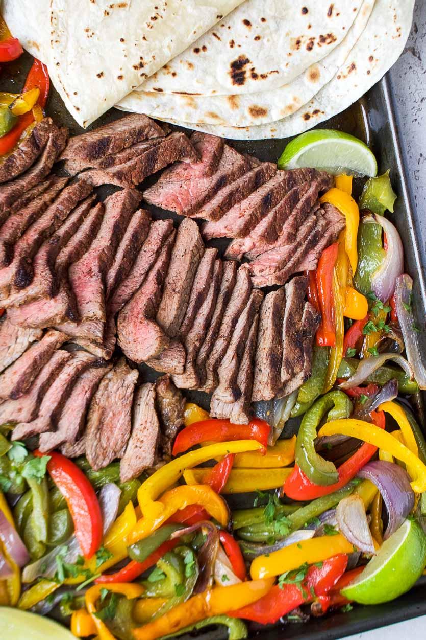 Healthy Sheet Pan Steak Fajitas