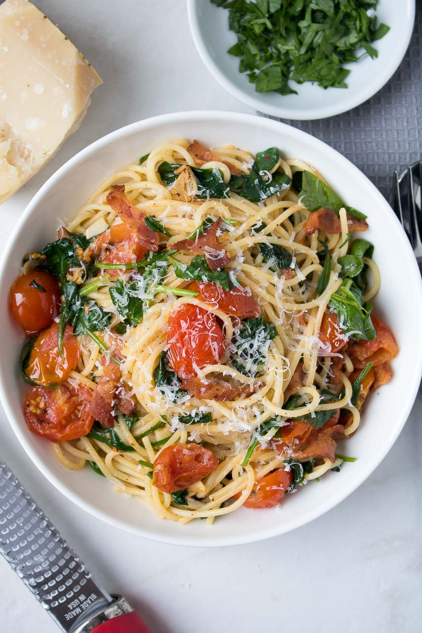 Bacon Spinach Pasta