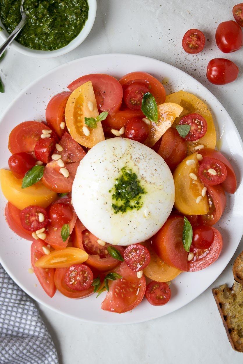 Burrata Salad with Tomato and Pesto